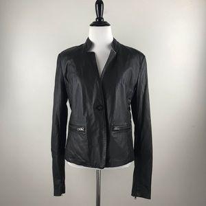 Muubaa Sz 10 Black 100% Leather Jacket Lined